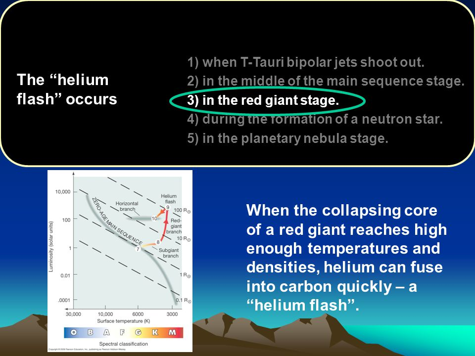 1) when T-Tauri bipolar jets shoot out. 2) in the middle of the main sequence stage. 3) in the red giant stage. 4) during the formation of a neutron s