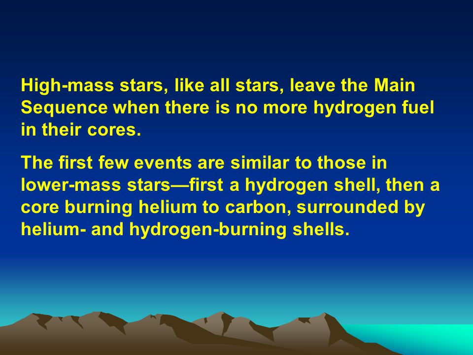 High-mass stars, like all stars, leave the Main Sequence when there is no more hydrogen fuel in their cores. The first few events are similar to those