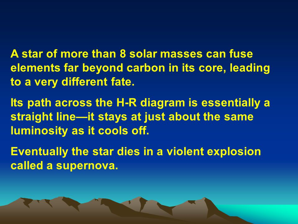 A star of more than 8 solar masses can fuse elements far beyond carbon in its core, leading to a very different fate. Its path across the H-R diagram