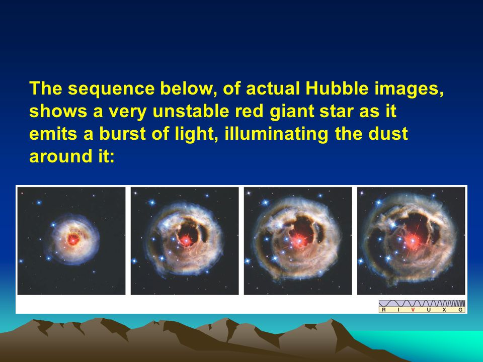 The sequence below, of actual Hubble images, shows a very unstable red giant star as it emits a burst of light, illuminating the dust around it: