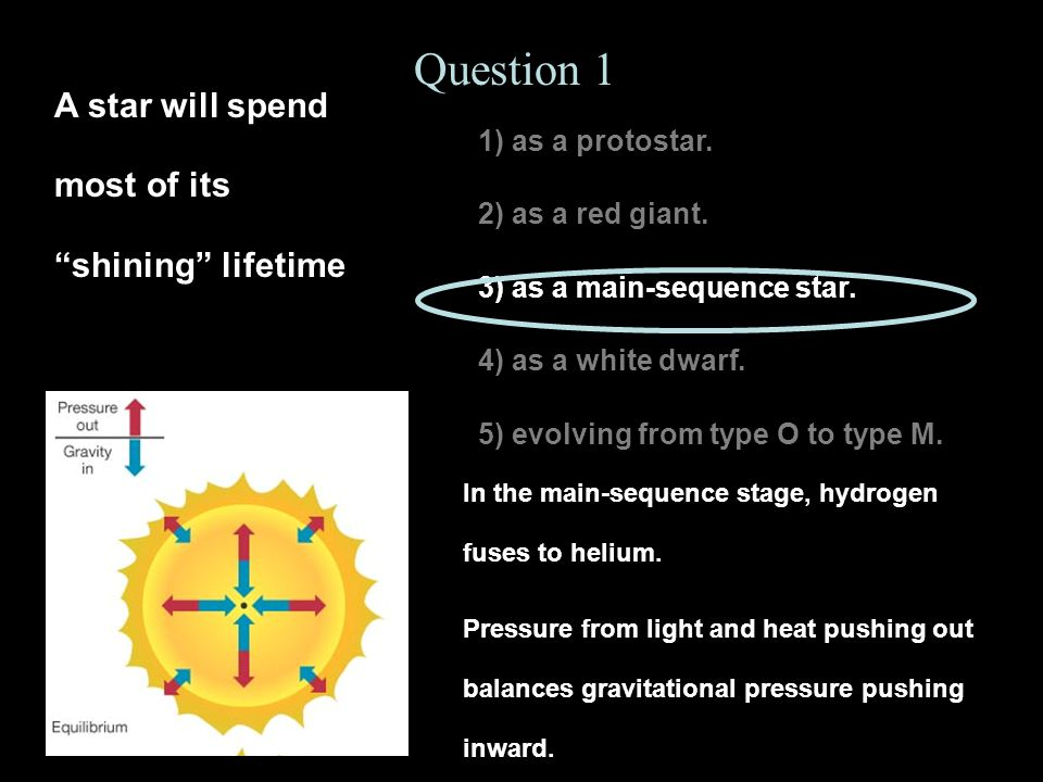 1) as a protostar. 2) as a red giant. 3) as a main-sequence star. 4) as a white dwarf. 5) evolving from type O to type M. Question 1 A star will spend