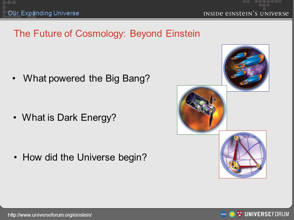 http://www.universeforum.org/einstein/ Our Expanding Universe The Future of Cosmology: Beyond Einstein What powered the Big Bang.