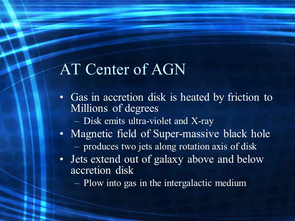 AT Center of AGN Gas in accretion disk is heated by friction to Millions of degrees –Disk emits ultra-violet and X-ray Magnetic field of Super-massive black hole –produces two jets along rotation axis of disk Jets extend out of galaxy above and below accretion disk –Plow into gas in the intergalactic medium