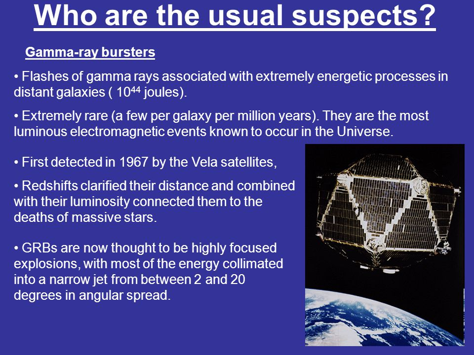 Who are the usual suspects? Gamma-ray bursters Short and long GRBs recorded by Vela.