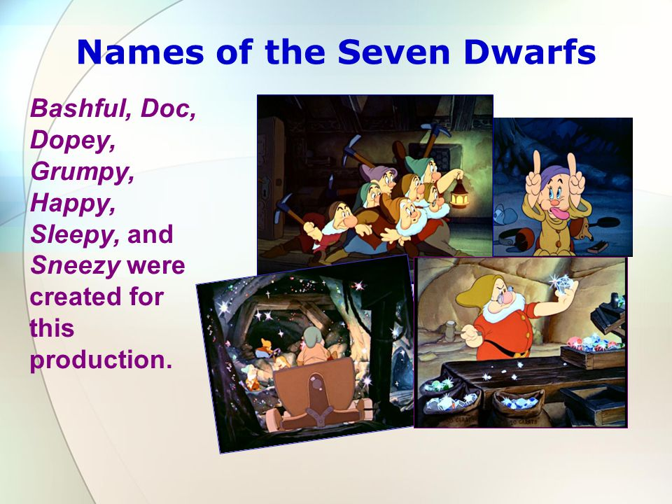 Names of the Seven Dwarfs Bashful, Doc, Dopey, Grumpy, Happy, Sleepy, and Sneezy were created for this production.