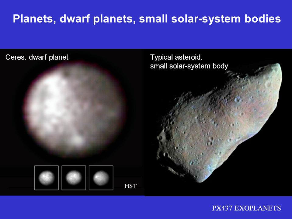 PX437 EXOPLANETS Ceres: dwarf planet HST Planets, dwarf planets, small solar-system bodies Typical asteroid: small solar-system body