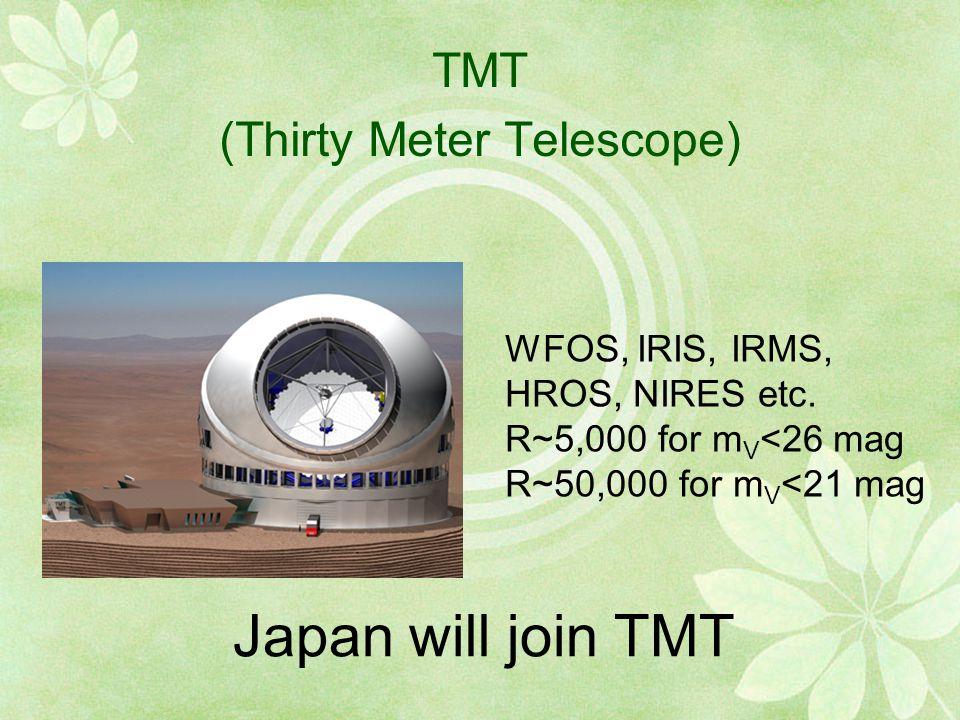 TMT (Thirty Meter Telescope) WFOS, IRIS, IRMS, HROS, NIRES etc.