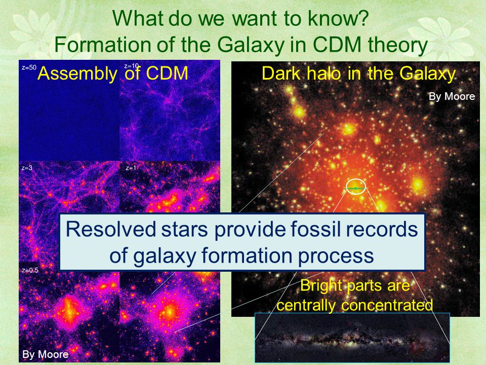 What do we want to know? Formation of the Galaxy in CDM theory Bright parts are centrally concentrated Dark halo in the GalaxyAssembly of CDM By Moore