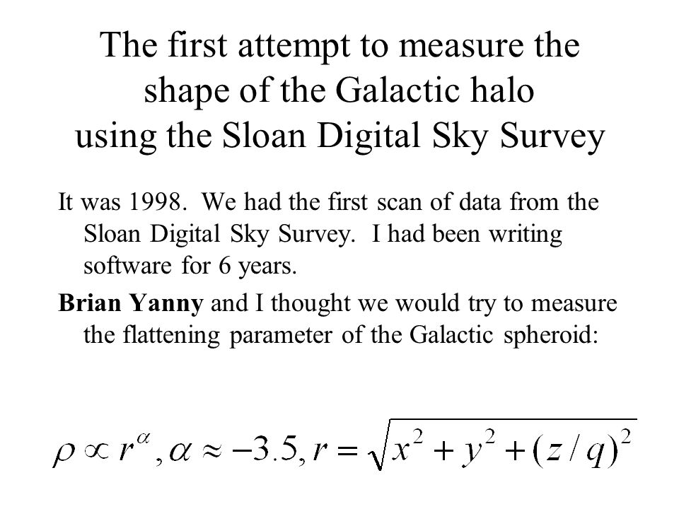 The first attempt to measure the shape of the Galactic halo using the Sloan Digital Sky Survey It was 1998.