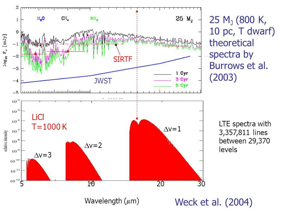 25 M J (800 K, 10 pc, T dwarf) theoretical spectra by Burrows et al.