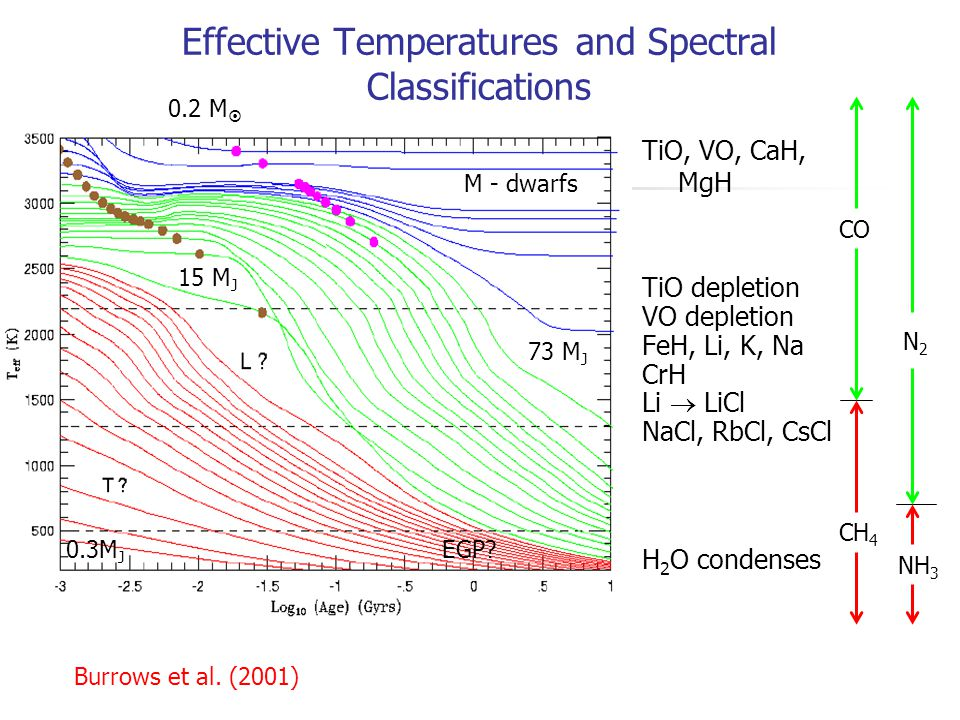 Effective Temperatures and Spectral Classifications TiO, VO, CaH, MgH TiO depletion VO depletion FeH, Li, K, Na CrH Li  LiCl NaCl, RbCl, CsCl H 2 O c