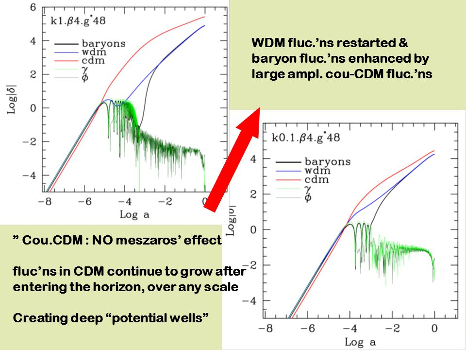 WDM fluc.'ns restarted & baryon fluc.'ns enhanced by large ampl.