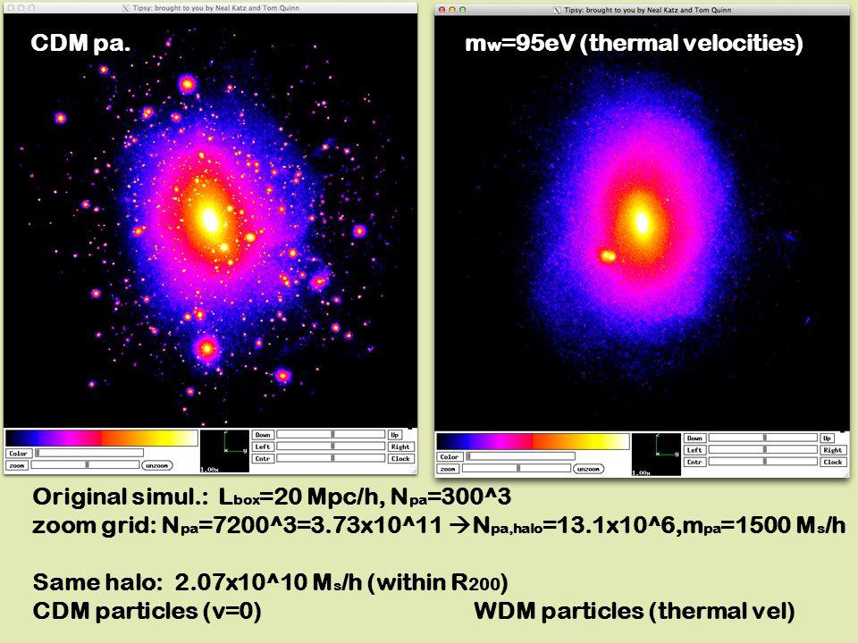 Original simul.: L box =20 Mpc/h, N pa =300^3 zoom grid: N pa =7200^3=3.73x10^11  N pa,halo =13.1x10^6,m pa =1500 M s /h Same halo: 2.07x10^10 M s /h (within R 200 ) CDM particles (v=0) WDM particles (thermal vel) CDM pa.m w =95eV (thermal velocities)