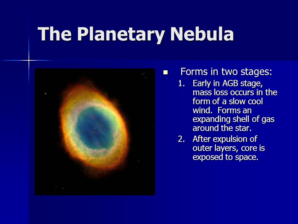 The Planetary Nebula Forms in two stages: Forms in two stages: 1.Early in AGB stage, mass loss occurs in the form of a slow cool wind. Forms an expand