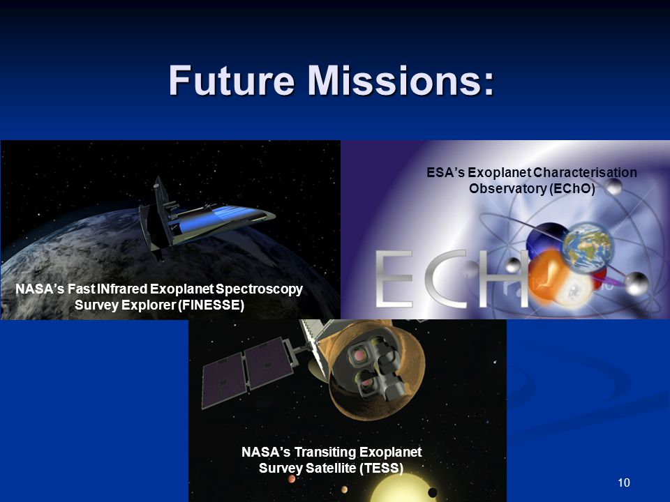 Future Missions: 10 NASA's Fast INfrared Exoplanet Spectroscopy Survey Explorer (FINESSE) ESA's Exoplanet Characterisation Observatory (EChO) NASA's Transiting Exoplanet Survey Satellite (TESS)