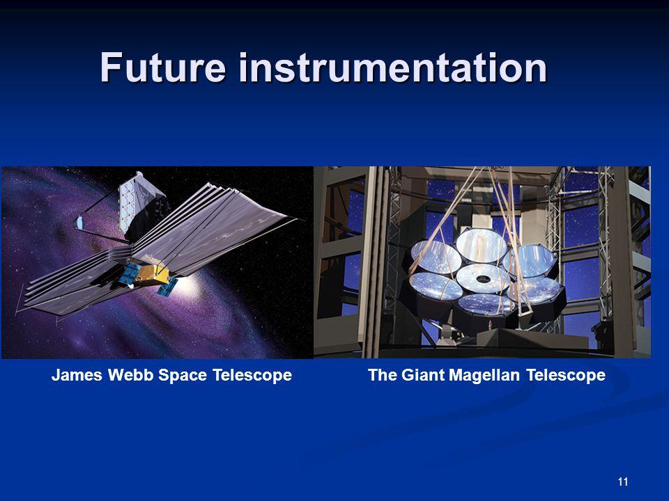 Future instrumentation 11 James Webb Space TelescopeThe Giant Magellan Telescope