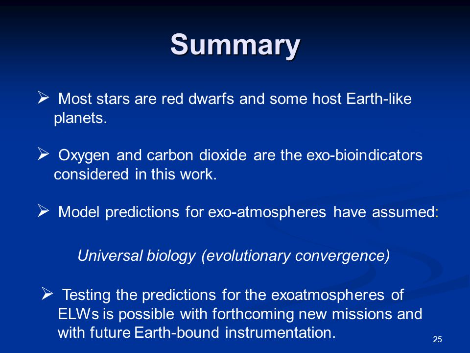 Summary  Most stars are red dwarfs and some host Earth-like planets.