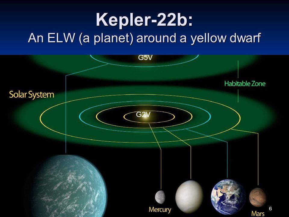 Kepler-22b: An ELW (a planet) around a yellow dwarf G5V G2V 6