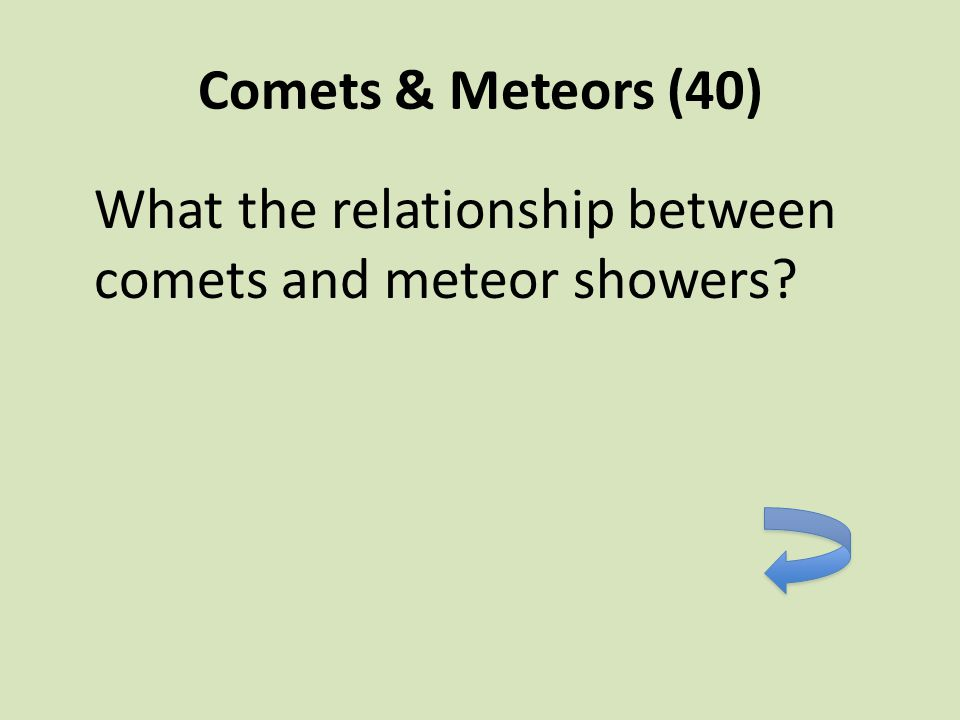 Comets & Meteors (40) What the relationship between comets and meteor showers?