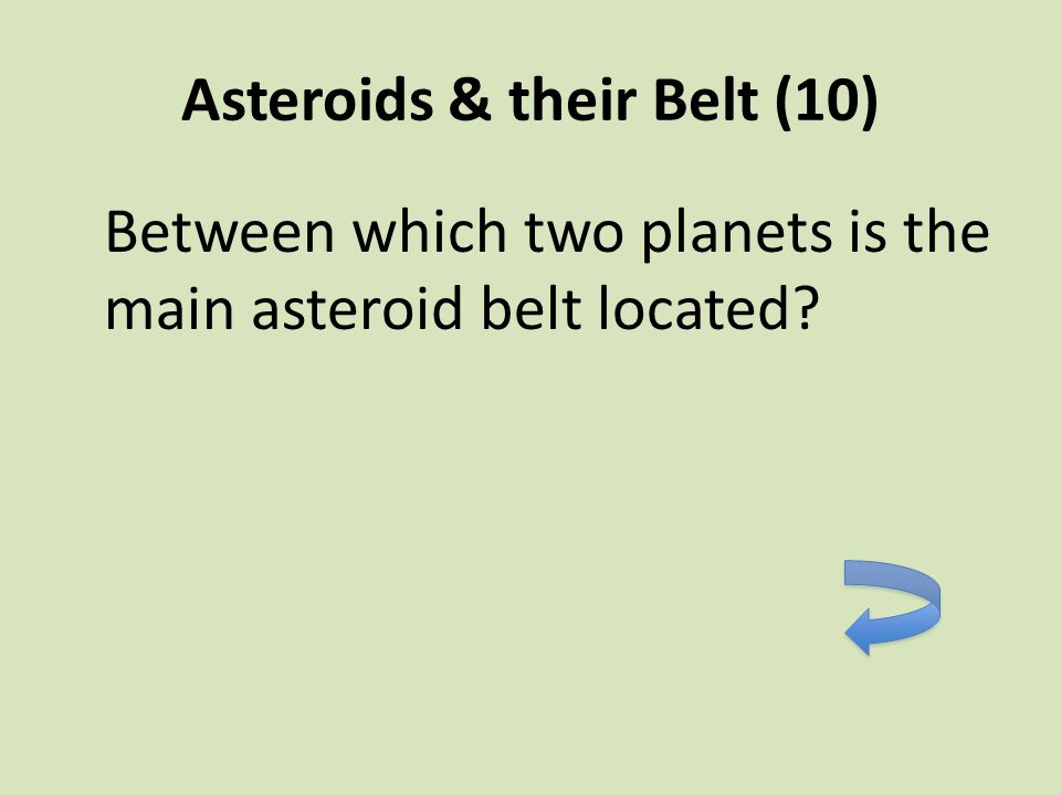 Asteroids & their Belt (10) Between which two planets is the main asteroid belt located?
