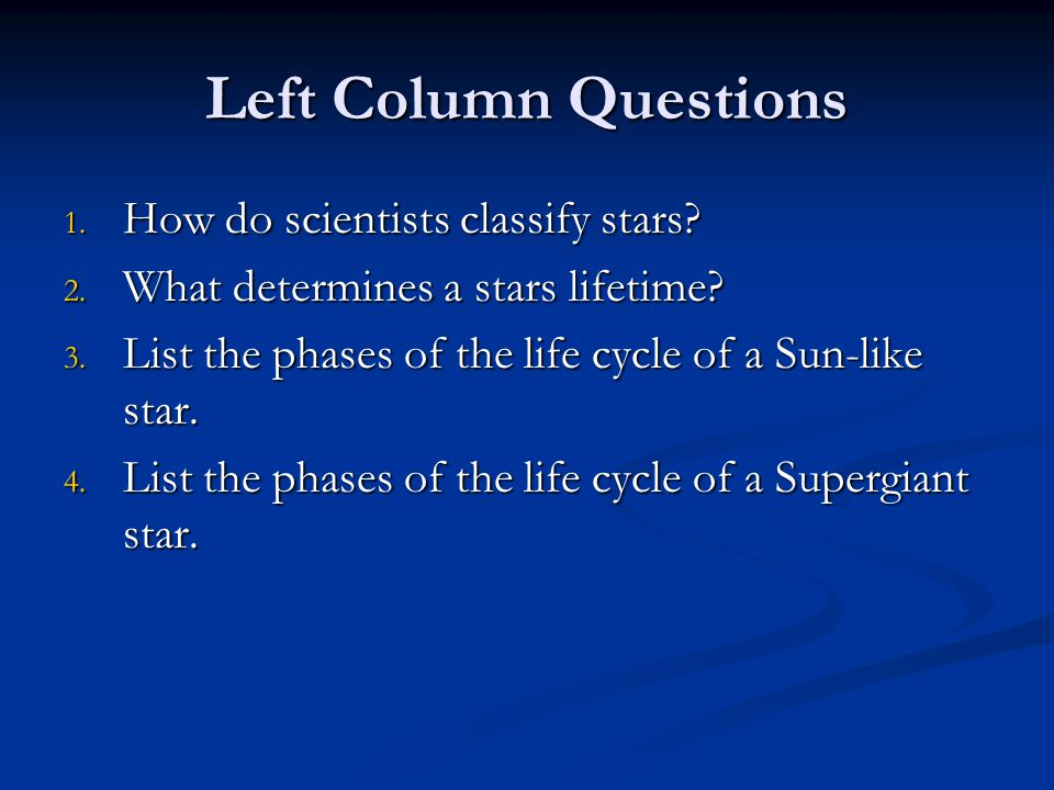 How do scientists classify stars.