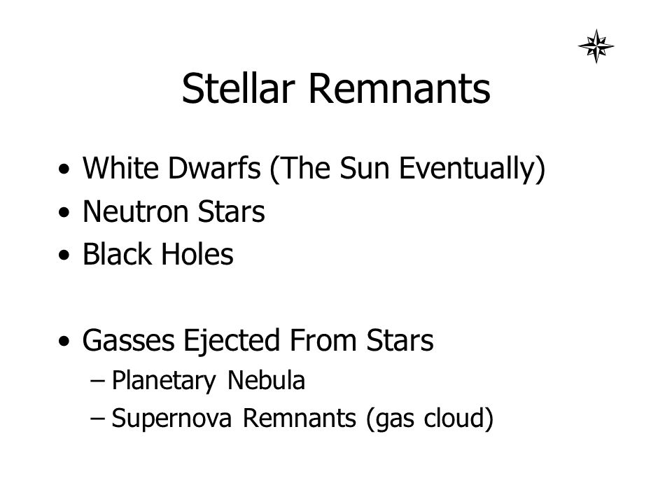 Stellar Remnants White Dwarfs (The Sun Eventually) Neutron Stars Black Holes Gasses Ejected From Stars –Planetary Nebula –Supernova Remnants (gas clou