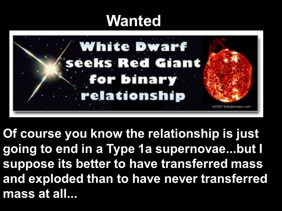 Low Mass Stars Sun Core forms a White Dwarf White Dwarf becomes a Black Dwarf (dead star) If the White Dwarf is a binary star, a Supernova type 1a can form, if its mass becomes greater than 1 ¼ solar masses Envelope separates from core and forms a planetary nebula Red Giant Becomes Red Giant when H is almost gone Only H, He in shells, C & O in core left C & O do not fuse Orbit out to almost Venus Becomes a Red Super Giant Red Super Giant