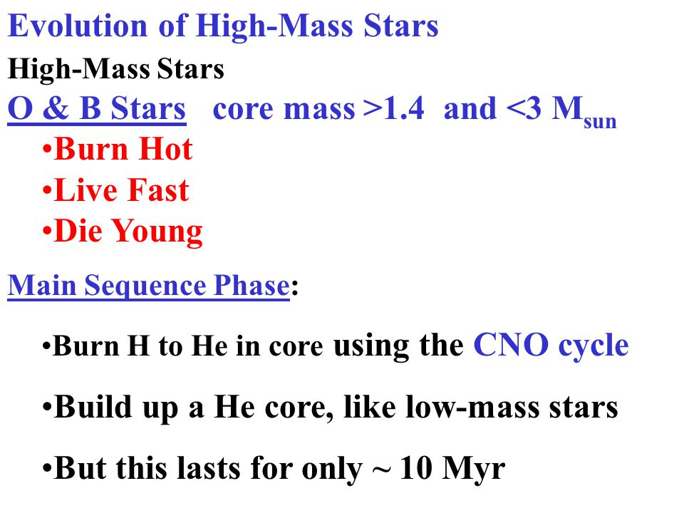 massive stars evolve more rapidly due to rapid nuclear burning, and massive stars produce heavier elements Massive stars have the same internal change