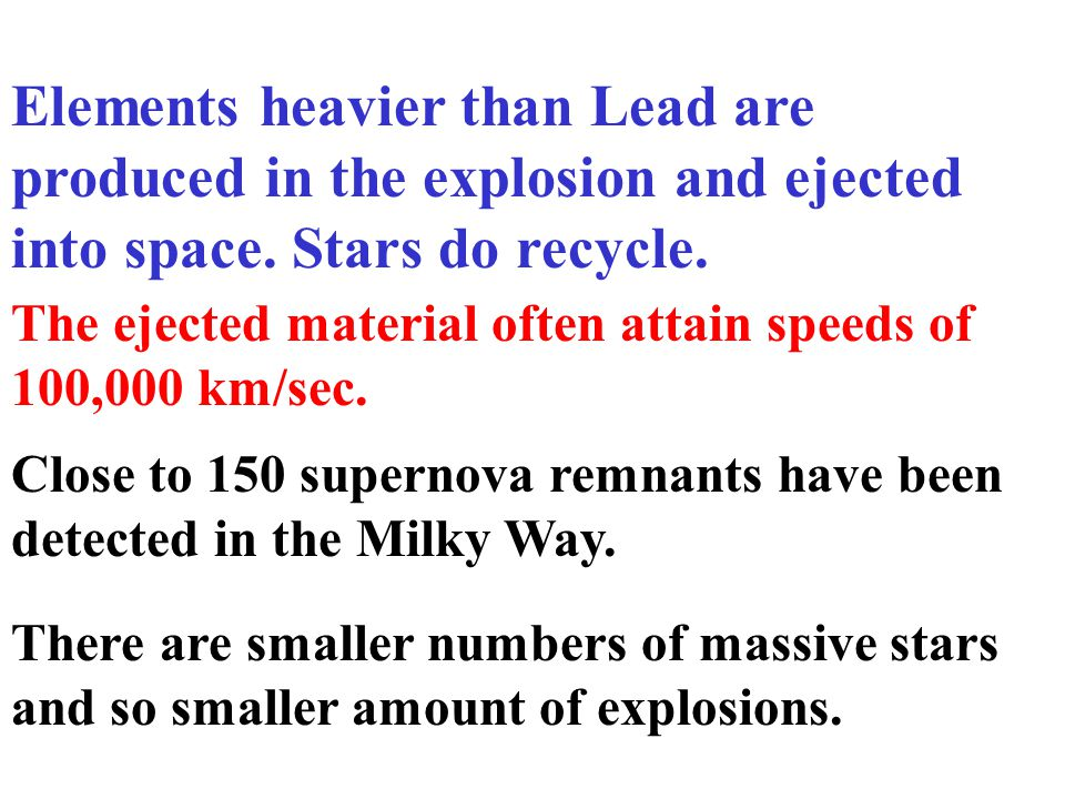 Supernova explosion Neutron degeneracy pressure halts the collapse Material falling inwards rebounds. Outer layers of the atmosphere, including shells