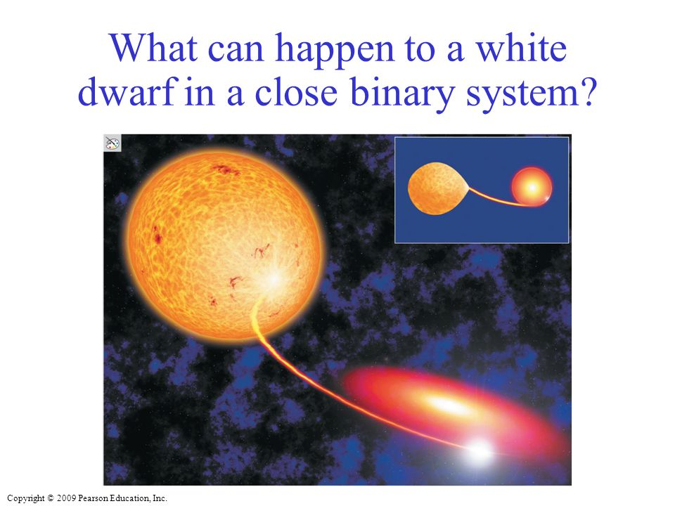Copyright © 2009 Pearson Education, Inc. What can happen to a white dwarf in a close binary system