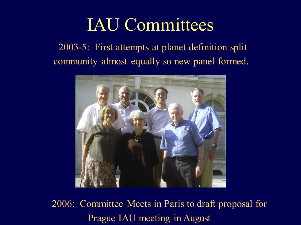 IAU Committees 2003-5: First attempts at planet definition split community almost equally so new panel formed. 2006: Committee Meets in Paris to draft