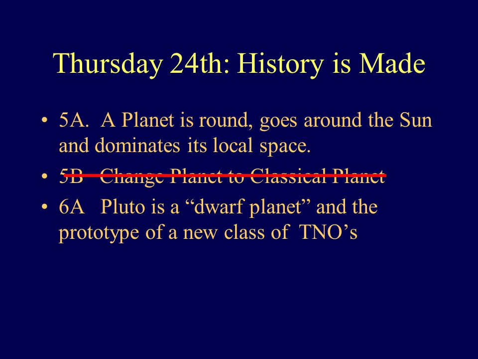 Thursday 24th: History is Made 5A.