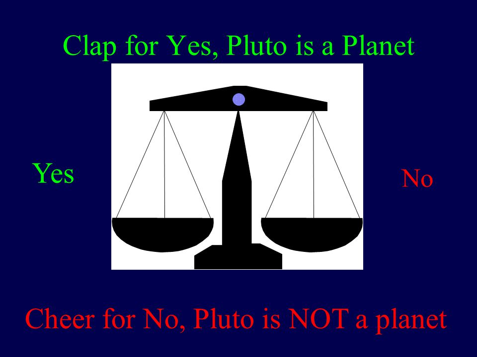 Clap for Yes, Pluto is a Planet Cheer for No, Pluto is NOT a planet Yes No