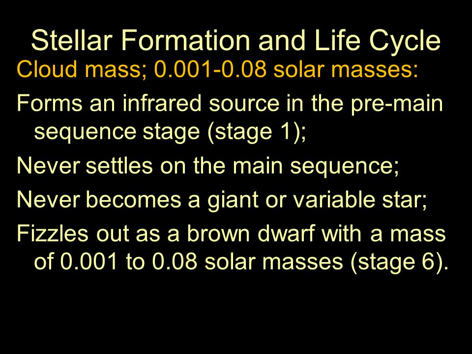 Stellar Formation and Life Cycle Cloud mass; 30-50 solar masses: Forms an infrared cocoon star (stage 1); Settles to a blue giant main sequence star; Expands to form a hypergiant (stage 4); Fluctuates to a Wolf-Rayet star (stage 5); Fluctuates to supernova (stage 6); Leaves behind a neutron star core; mass of 5 to 8.3 solar masses; possibly a black hole.
