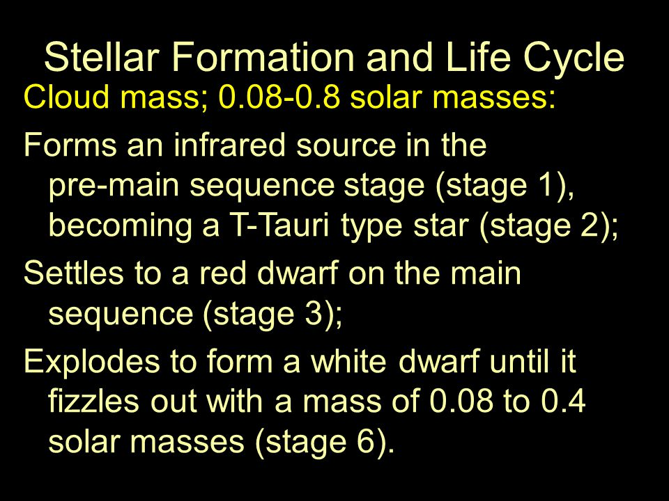 Stellar Formation and Life Cycle Cloud mass; 50-100 solar masses: Forms an infrared cocoon star (stage 1); Fragments into smaller proto-stars or complete disruption of the process (stage 6) or… Supernovas (stage 6); Leaves behind a neutron star core; mass of 8.3 to 20 solar masses; possibly a black hole.