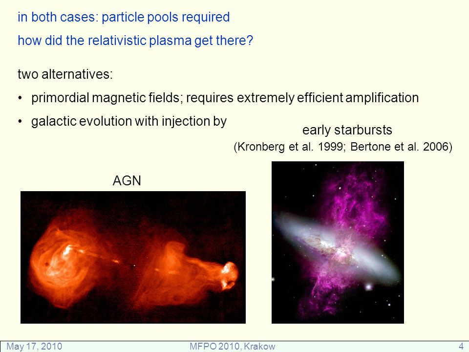 May 17, 2010MFPO 2010, Krakow4 two alternatives: primordial magnetic fields; requires extremely efficient amplification galactic evolution with injection by early starbursts (Kronberg et al.