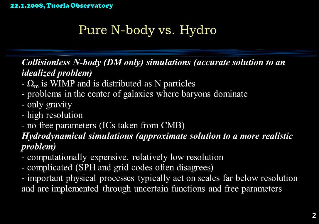 22.1.2008, Tuorla Observatory 2 Pure N-body vs.