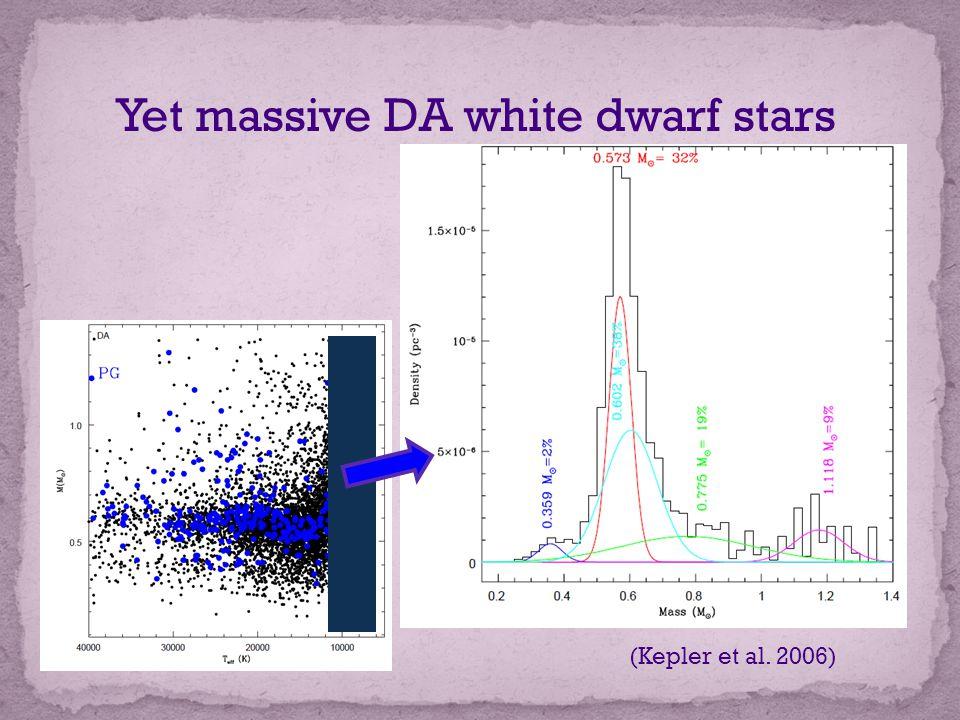 Yet massive DA white dwarf stars (Kepler et al. 2006)