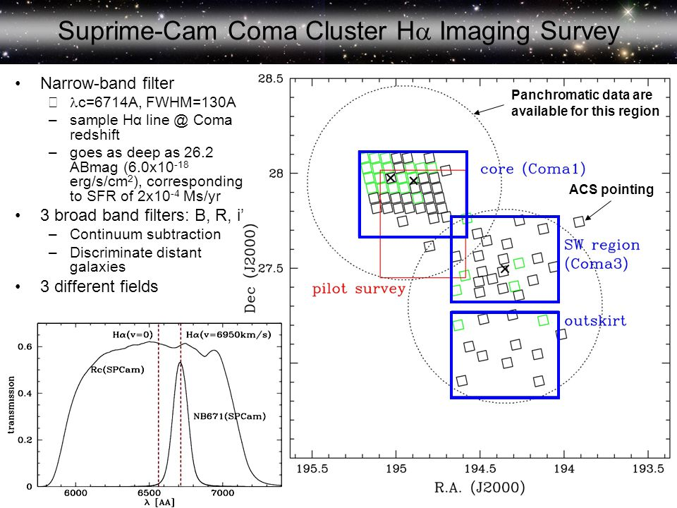 Suprime-Cam Coma Cluster H  Imaging Survey ACS pointing Panchromatic data are available for this region Narrow-band filter – c=6714A, FWHM=130A –sample Hα line @ Coma redshift –goes as deep as 26.2 ABmag (6.0x10 -18 erg/s/cm 2 ), corresponding to SFR of 2x10 -4 Ms/yr 3 broad band filters: B, R, i' –Continuum subtraction –Discriminate distant galaxies 3 different fields