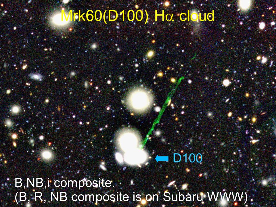 Mrk60(D100) H  cloud B,NB,i composite. (B, R, NB composite is on Subaru WWW) D100