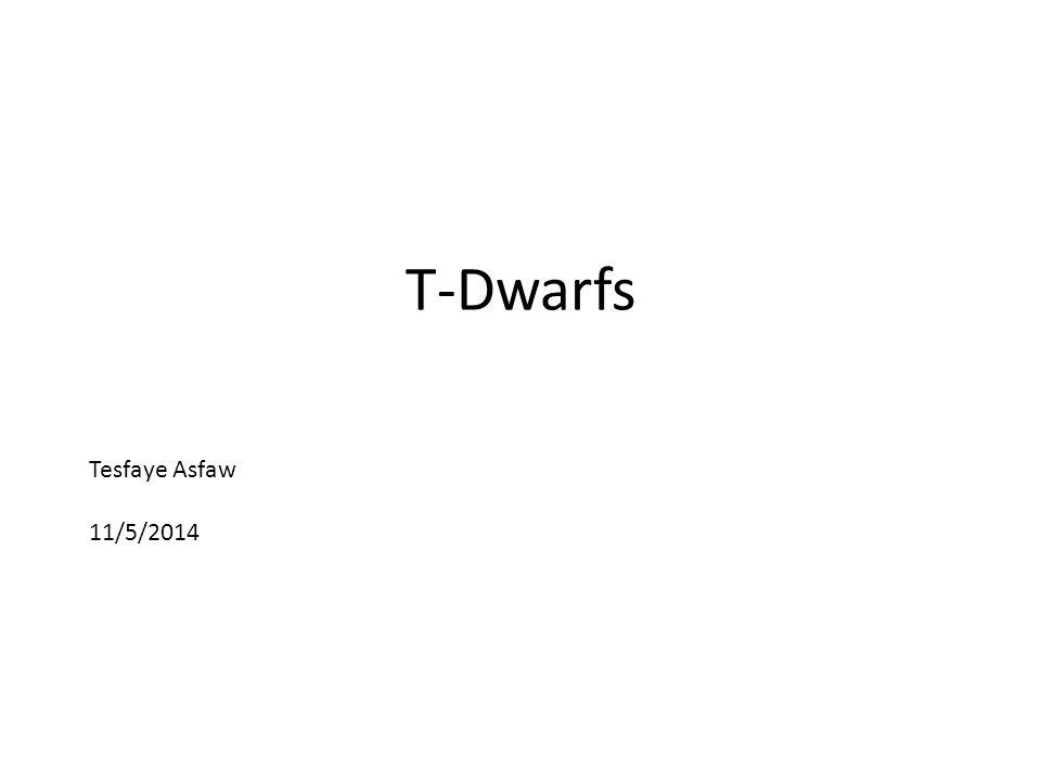 Tesfaye Asfaw 11/5/2014 T-Dwarfs