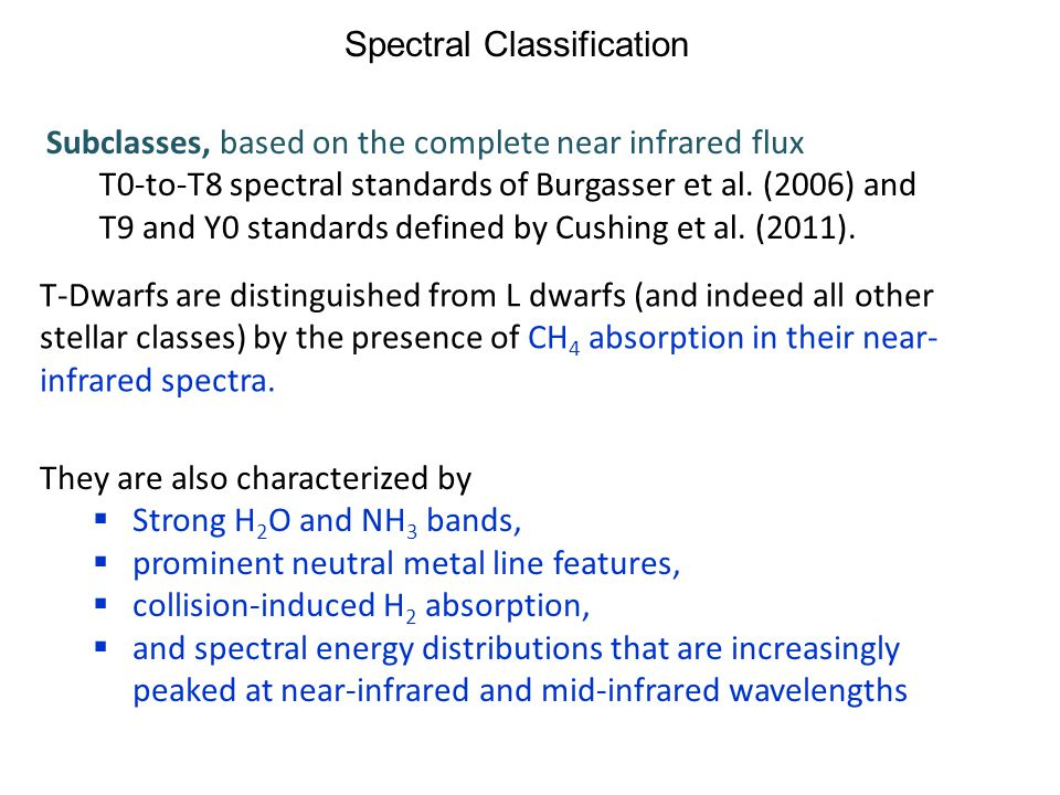 Spectral Classification Subclasses, based on the complete near infrared flux T0-to-T8 spectral standards of Burgasser et al. (2006) and T9 and Y0 stan