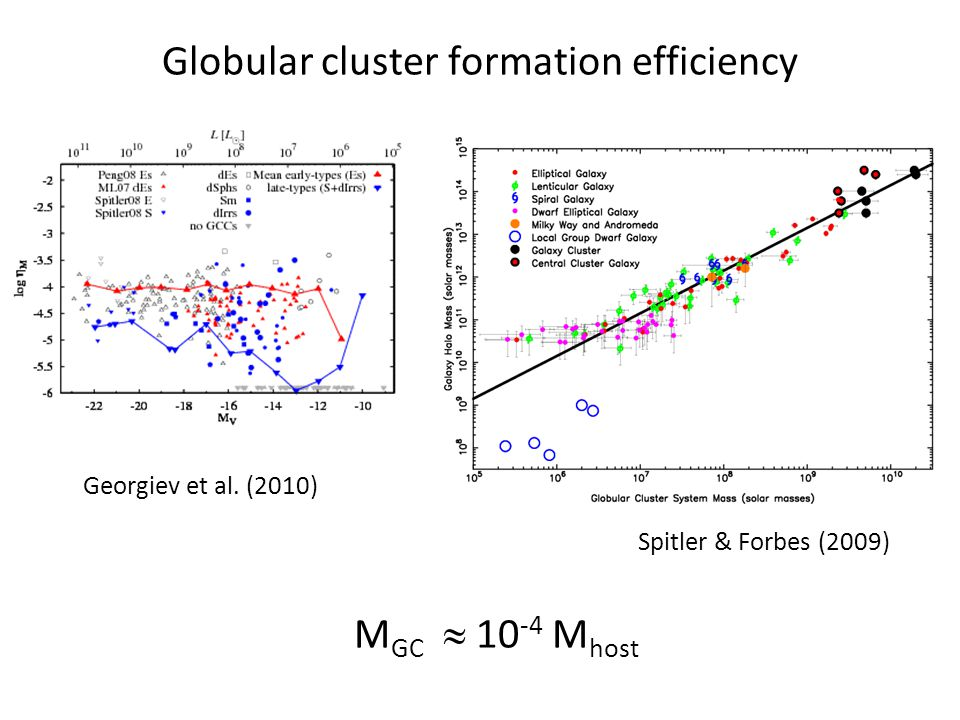 Globular cluster formation efficiency Spitler & Forbes (2009) Georgiev et al.