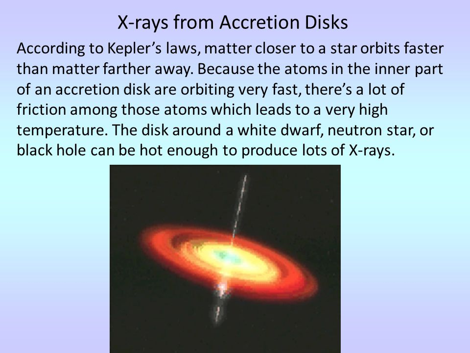X-rays from Accretion Disks According to Kepler's laws, matter closer to a star orbits faster than matter farther away.