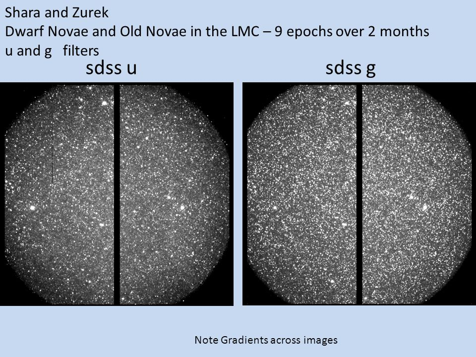 Shara and Zurek Dwarf Novae and Old Novae in the LMC – 9 epochs over 2 months u and g filters sdss gsdss u Note Gradients across images