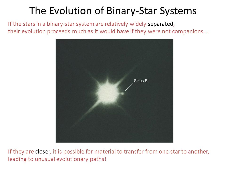 If the stars in a binary-star system are relatively widely separated, their evolution proceeds much as it would have if they were not companions... If