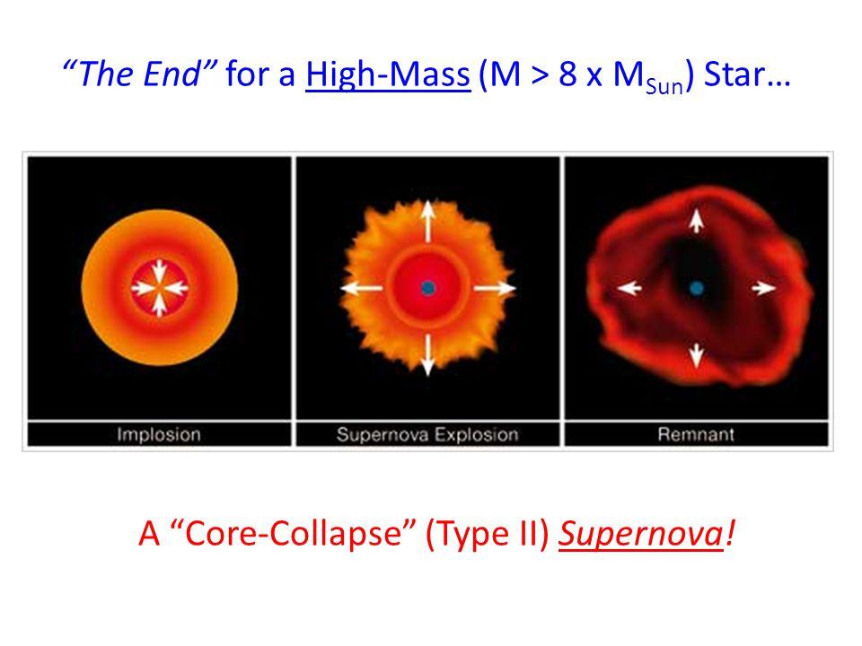 """""""The End"""" for a High-Mass (M > 8 x M Sun ) Star… A """"Core-Collapse"""" (Type II) Supernova!"""
