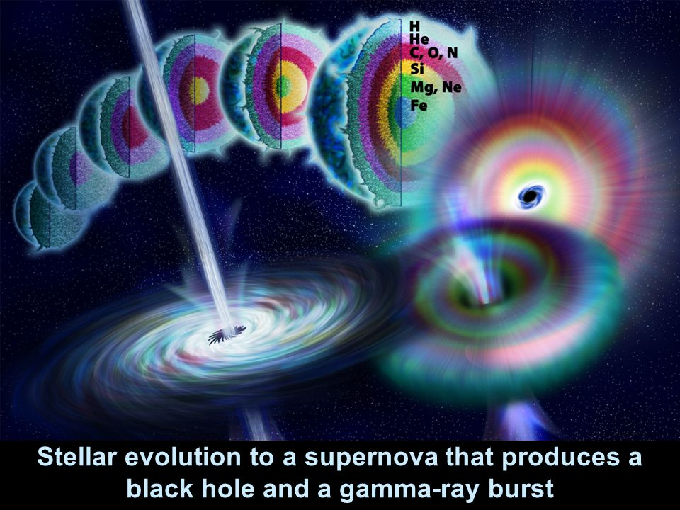 Stellar evolution to a supernova that produces a black hole and a gamma-ray burst