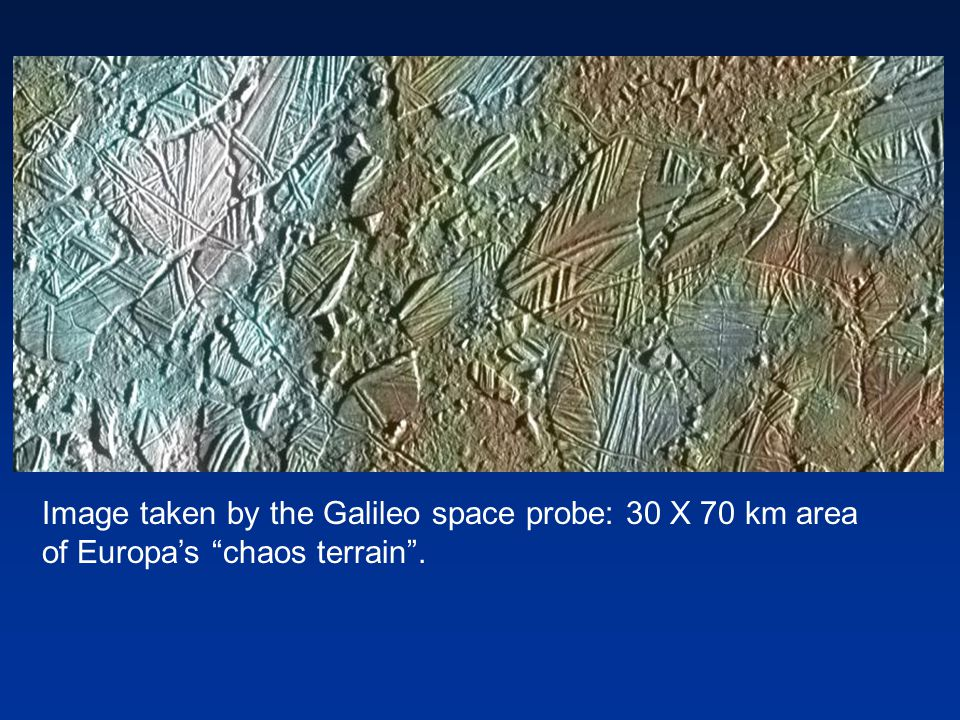 Image taken by the Galileo space probe: 30 X 70 km area of Europa's chaos terrain .