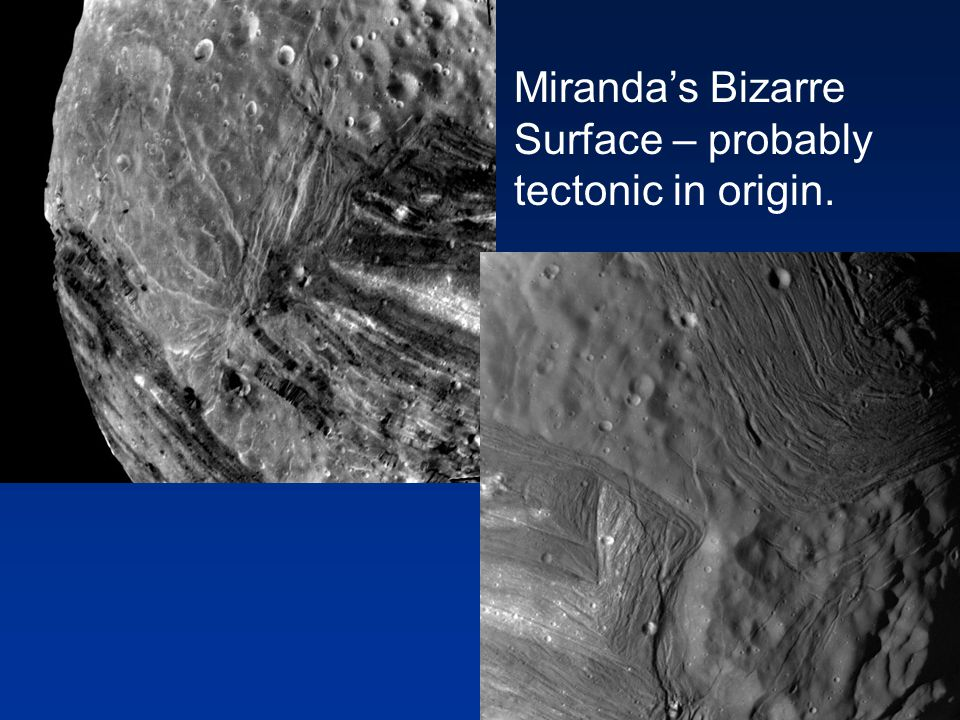Miranda's Bizarre Surface – probably tectonic in origin.